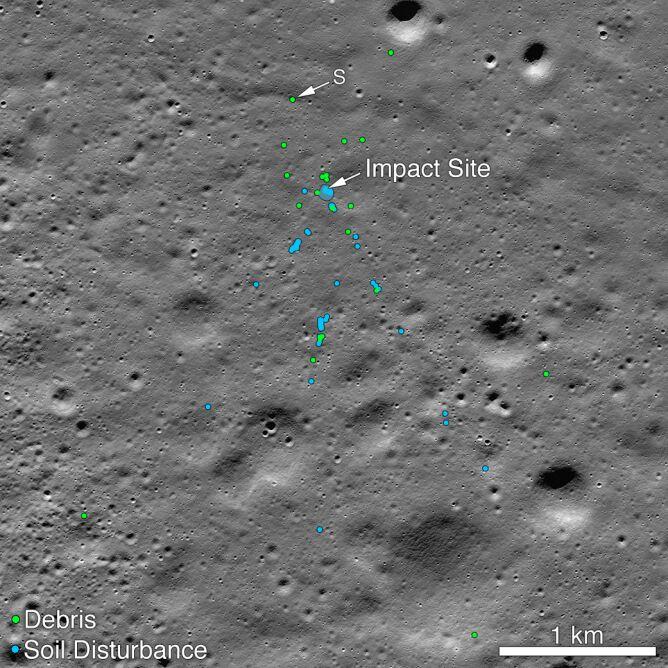 NASA zaznaczyła miejsca odłamków wraku i naruszenia powierzchni Księżyca