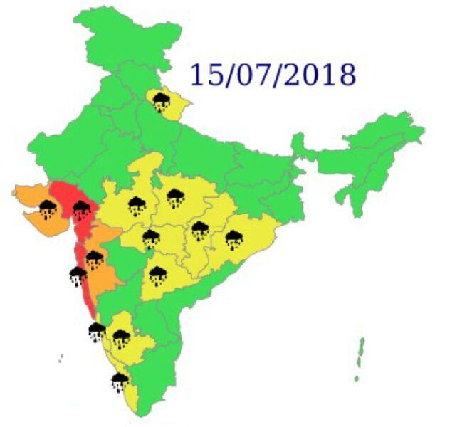 Ostrzeżenia meteorologiczne dla Indii na niedzielę (India Meteorogical Department)
