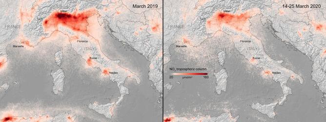 Zdjęcia satelitarne jakości powietrza nad Milanem z marca 2019 roku i z okresu 14-25 marca 2020 roku (ESA)