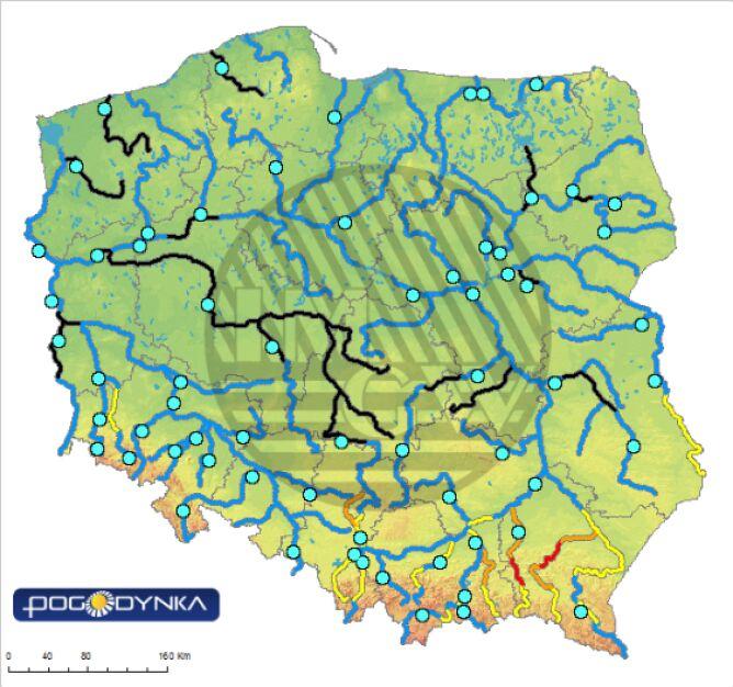 Stan wody w rzekach 22.05.19 o godz. 6
