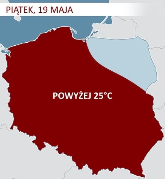 Gorące powietrze nad Polską w piątek