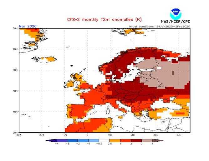 Prognoza odchylenia na plus średniej miesięcznej temperatury na marzec 2020 (NWS/NCEP/NOAA)