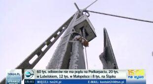 Brak prądu na Podkarpaciu dotyka dziesiątek tysięcy osób (TVN24)